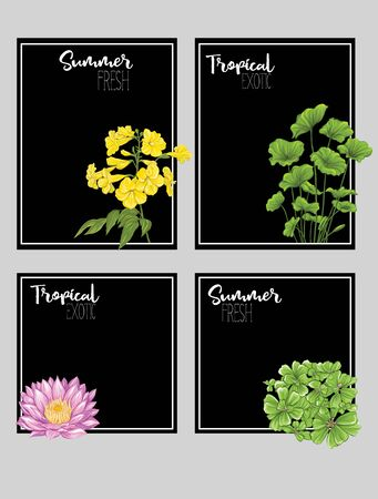 Set of text boxes for bullet journal or notes with tropical plans, flowers and birds. Stickers, elements for design on black background. Vector illustration.. Stock Vector - 133466678