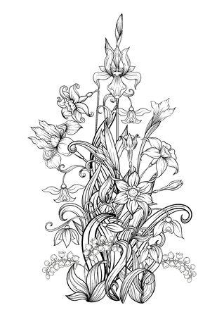 Un mazzo di fiori primaverili. Elemento per il design. Illustrazione di vettore del disegno a mano di contorno. In stile art nouveau, vintage, antico, retrò. Isolato su sfondo bianco..
