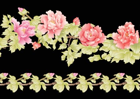 Peony tree branch with flowers in the style of Chinese painting on silk. Seamless pattern, background. Colored vector illustration Isolated on black background