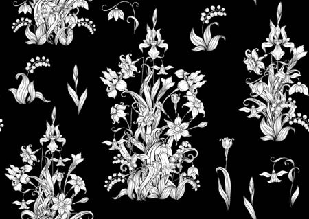 Spring flowers. Narcissus, Iris flower, lily of the valley, may-lily, Seamless pattern, background. Black and white graphics. Vector illustration. In art nouveau style, vintage, old, retro style  イラスト・ベクター素材