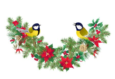 Tit bird - a symbol of winter. Christmas wreath of winter plants. Element for design. Colored vector illustration. Isolated on white background.. 版權商用圖片 - 133221676