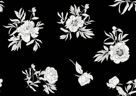 Peony flower. Seamless pattern, background. Black and white graphics. Vector illustration. In botanical style  イラスト・ベクター素材