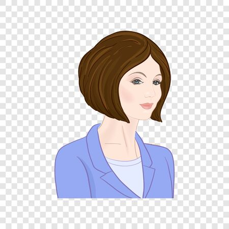 Beautiful woman 30-39 or 40-49, hand drawn portrait, office style hairstyles and clothes, vector line art illustration.