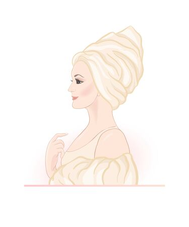 Beautiful woman 30-39 or 40-49 woman with a towel on her head. Hand drawn portrait, vector line art illustration. Stock Vector - 133160568