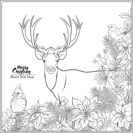 Christmas wreath of spruce, pine, poinsettia, dog rose, cowberry, cranberry, mistletoe, winter birds and deer. Coloring page for the adult coloring book. Outline hand drawing vector illustration..