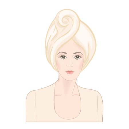 Beautiful woman 30-39 or 40-49 woman with a towel on her head. Hand drawn portrait, vector line art illustration in beige colors.