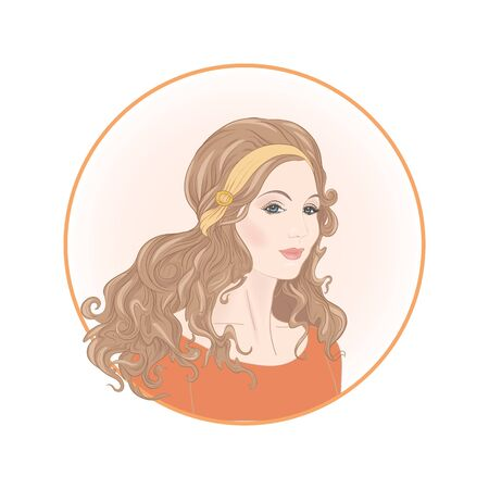 Beautiful woman 30-39 or 40-49 with long hair, hand drawn portrait, vector line art illustration in a circle. Stock Vector - 133160596