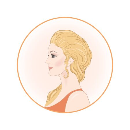 Beautiful woman 30-39 or 40-49 with long hair, hand drawn portrait, vector line art illustration in a circle. Illustration