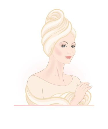 Beautiful woman 30-39 or 40-49 woman with a towel on her head. Hand drawn portrait, vector line art illustration. Illustration