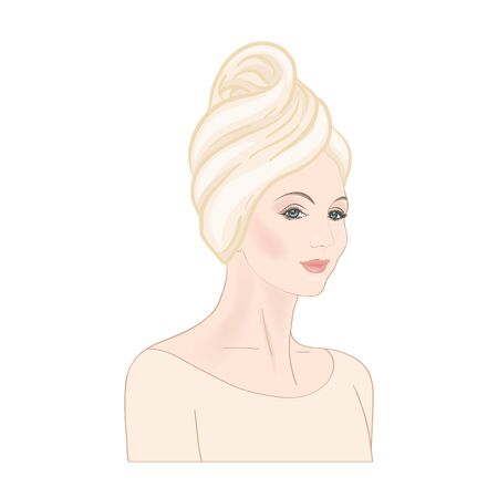 Beautiful woman 30-39 or 40-49 woman with a towel on her head. Hand drawn portrait, vector line art illustration in beige colors. Stockfoto - 133160604