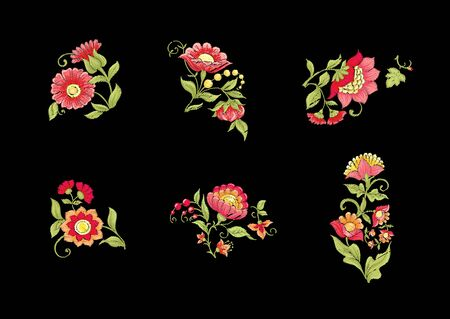 Tradition mughal motif, fantasy flowers in retro, vintage style. Element for design. Embroidery imitation. Vector illustration. Isolated on black background Ilustrace