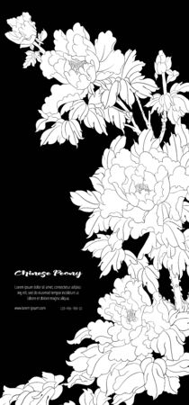 Peony tree branch with flowers in the style of Chinese painting on silk Template for wedding invitation, greeting card, banner, gift voucher, label. Black and white vector illustration..
