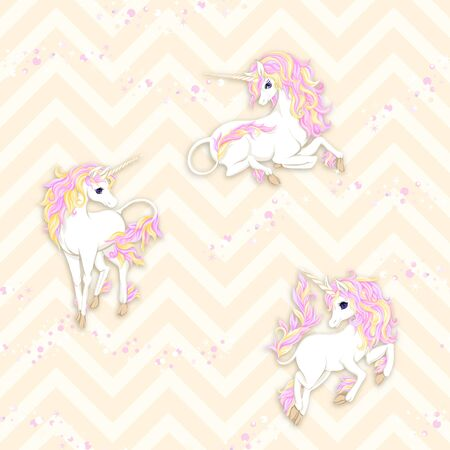 Seamless pattern, background with unicorns and glitter. Vector illustration. On light yellow zigzag background Illustration
