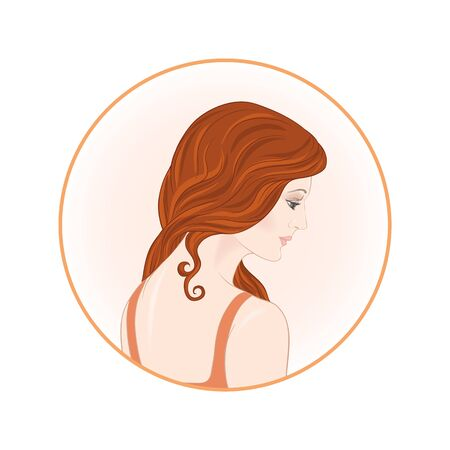 Beautiful woman 30-39 or 40-49 with long hair, hand drawn portrait, vector line art illustration in a circle. Stock Vector - 133160852