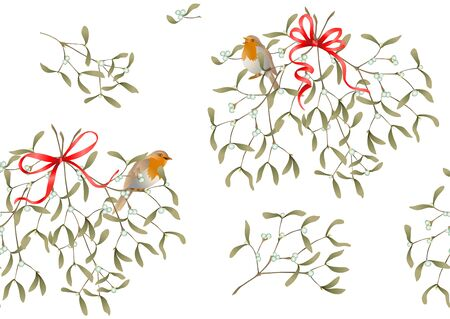 Seamless pattern, background. Mistletoe, Robin bird and ribbon. Colored vector illustration Ilustração