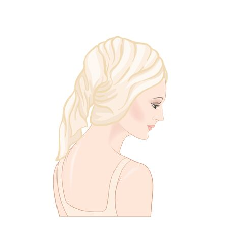 Beautiful woman 30-39 or 40-49 woman with a towel on her head. Hand drawn portrait, vector line art illustration in beige colors. Stockfoto - 133160859