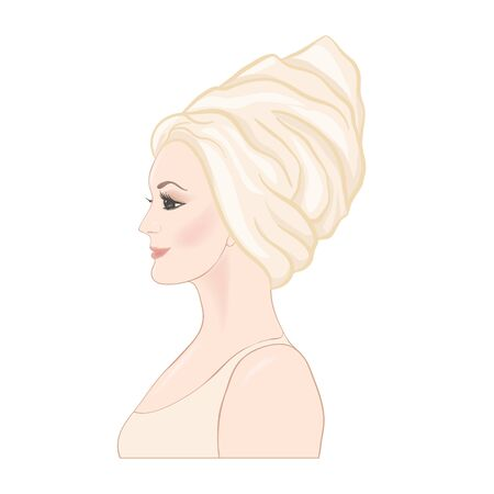 Beautiful woman 30-39 or 40-49 woman with a towel on her head. Hand drawn portrait, vector line art illustration in beige colors. Stock Vector - 133160860