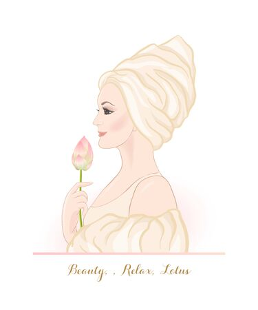 Beautiful woman 30-39 or 40-49 woman with a towel on her head and lotus flower in hand. Hand drawn portrait, vector line art illustration. Stock Vector - 133160867