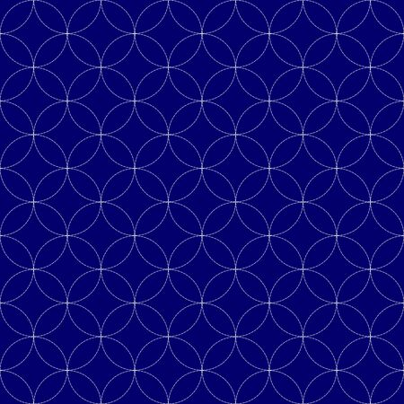 Imitation of traditional Japanese embroidery Sashiko. Seamless pattern, background. Vector illustration. On navy blue background.. Illusztráció