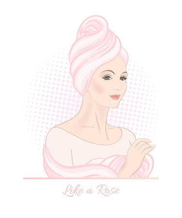 Beautiful woman 30-39 or 40-49 woman with a towel on her head. Hand drawn portrait, vector line art illustration in pink colors. Stockfoto - 133160914