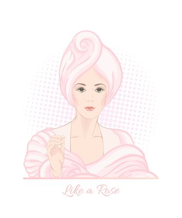 Beautiful woman 30-39 or 40-49 woman with a towel on her head. Hand drawn portrait, vector line art illustration in pink colors. Stockfoto - 133160916