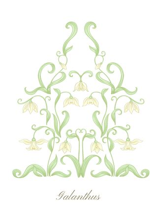 Galanthus, snowdrop, nivalis. Set of elements for design Colored vector illustration. In art nouveau style, vintage, old, retro style. Isolated on white background.