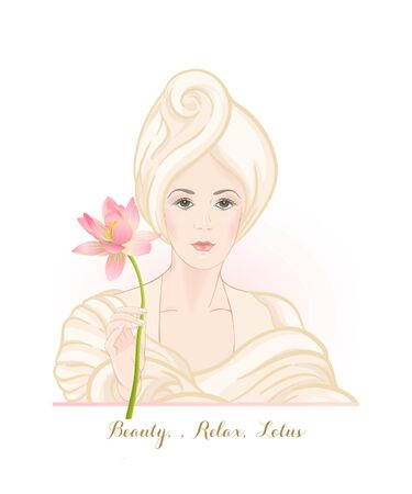 Beautiful woman 30-39 or 40-49 woman with a towel on her head and lotus flower in hand. Hand drawn portrait, vector line art illustration. Stock Vector - 133161015