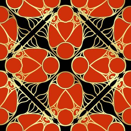 Motivo decorativo, marcos, cenefas. Patrón sin costuras, fondo. Ilustración de vector de color. En estilo art nouveau, vintage, estilo retro antiguo. En colores rojo, dorado y negro.