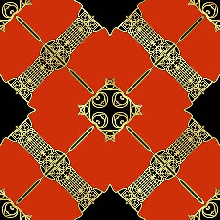 Decorative motif, frames, borders. Seamless pattern, background. Colored vector illustration. In art nouveau style, vintage, old retro style. In red, gold and black colors Ilustración de vector