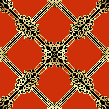 Decorative motif, frames, borders. Seamless pattern, background. Colored vector illustration. In art nouveau style, vintage, old retro style. In red, gold and black colors
