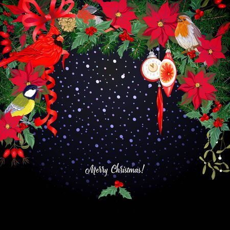 Merry Christmas traditional wreath of spruce, with vintage decoration, red ribbon and winter birds. Template for greeting card, banner, gift voucher. Colored vector illustration.. Stock Illustratie