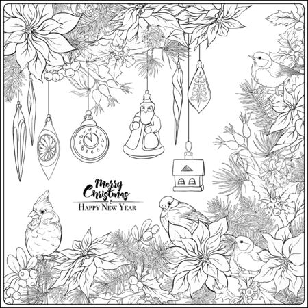 Christmas wreath of spruce, pine, poinsettia, winter birds and vintage decoration. Coloring page for the adult coloring book. Outline hand drawing vector illustration.. Illustration