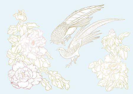 Rama de un árbol de peonía con flores con faisanes al estilo de la pintura china sobre seda Conjunto de elementos para el diseño Ilustración de vector de color. Ilustración de vector de dibujo a mano de contorno.