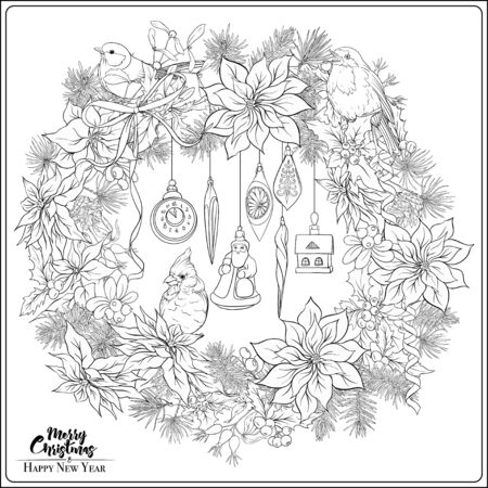 Christmas wreath of spruce, pine, poinsettia, winter birds and vintage decoration. Coloring page for the adult coloring book. Outline hand drawing vector illustration.. Stock Illustratie