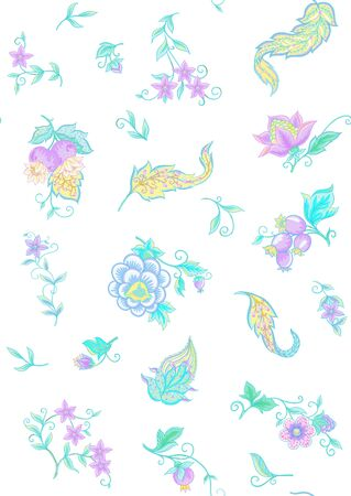 Fantasy flowers, traditional Jacobean embroidery style. Seamless pattern, background. Vector illustration in neon colors isolated on white background..