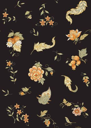 Fantasy flowers, traditional Jacobean embroidery style. Seamless pattern, background. Embroidery imitation. Vector illustration in soft orange and green colors isolated on black background.