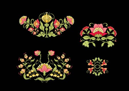 Tradition mughal motif, fantasy flowers in retro, vintage style. Element for design. Embroidery imitation. Vector illustration. Isolated on black background Illustration