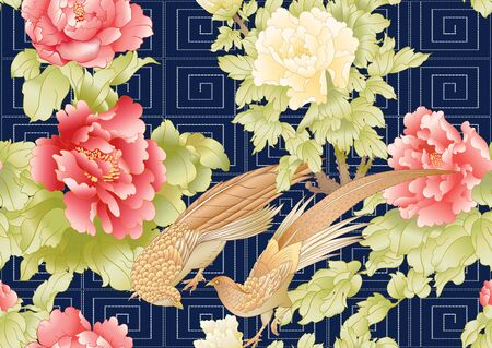 Peony tree with flowers with pheasants in the style of Chinese painting and Japanese embroidery Sashiko. Seamless pattern, background. Colored vector illustration. On black, dark blue background.