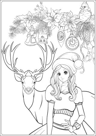 Corona de Navidad de abeto, pino, flor de pascua, pájaro de invierno, ciervo y linda chica con sombrero. Página para colorear para el libro de colorear para adultos. Ilustración de vector de dibujo a mano de contorno. Ilustración de vector