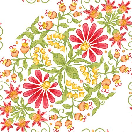 Tradition mughal motif, fantasy flowers in retro, vintage style. Seamless pattern, background. Vector illustration. Isolated on white background..