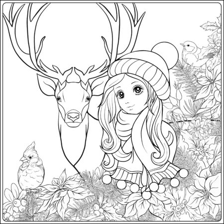 Christmas wreath of spruce, pine, poinsettia, winter bird, deer and nice girl in hat. Coloring page for the adult coloring book. Outline hand drawing vector illustration..