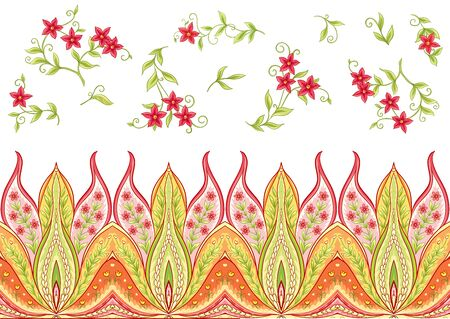 Fantasy flowers, traditional Jacobean embroidery style. Seamless pattern, background. Vector illustration in bright red and green colors isolated on white background..