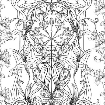 Spring flowers seamless pattern, background. Outline hand drawing vector illustration. In art nouveau style, vintage, old, retro style.. Stock Illustratie
