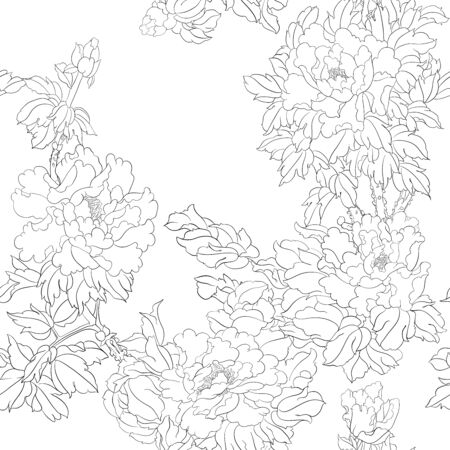 Peony tree branch with flowers in the style of Chinese painting on silk Seamless pattern, background. Outline hand drawing vector illustration..