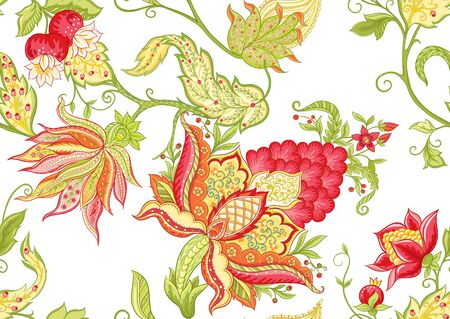 Flores de fantasía, estilo tradicional de bordado jacobeo. Patrón sin costuras, fondo. Ilustración de vector en colores rojo y verde brillante aislado sobre fondo blanco.
