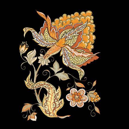 Éléments pour la conception. Fleurs fantastiques, style de broderie traditionnelle jacobée. Imitation de broderie. Illustration vectorielle dans des couleurs beiges isolées sur fond noir.. Vecteurs