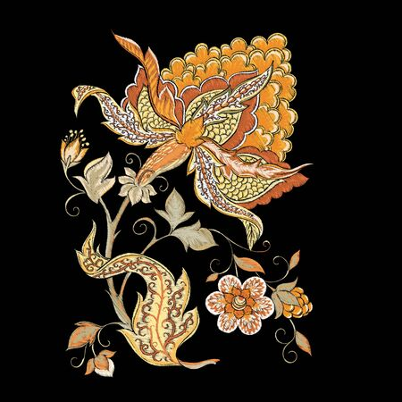 Elements for design. Fantasy flowers, traditional Jacobean embroidery style. Embroidery imitation. Vector illustration in beige colors isolated on black background.. Vector Illustration