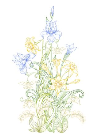 A bouquet of spring flowers. Element for design. Vector illustration. In art nouveau style, vintage, old, retro style. Isolated on white background..