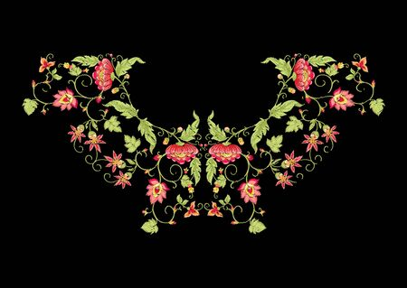 Tradition mughal motif, fantasy flowers in retro, vintage style. Element for design. Embroidery imitation. Vector illustration. Isolated on black background Stock Illustratie