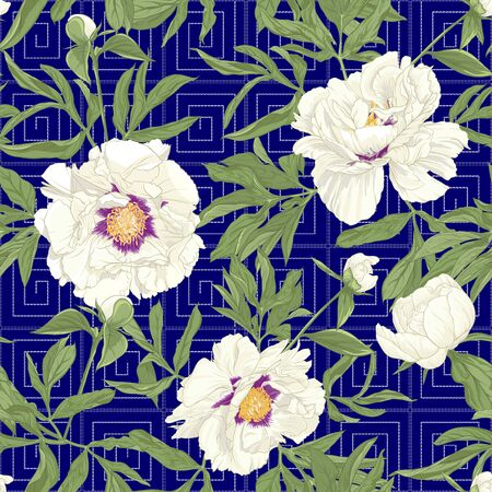 Peony flower. Seamless pattern, background. Colored vector illustration. In botanical style on space blue background with Imitation of traditional Japanese embroidery Sashiko..